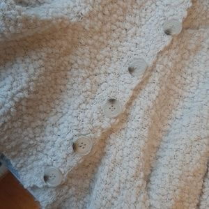 Cozy Casual Sweaters - White fluffy cardigan